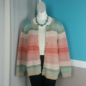 Talbots Colorful Wool Striped Button Cardigan 3X
